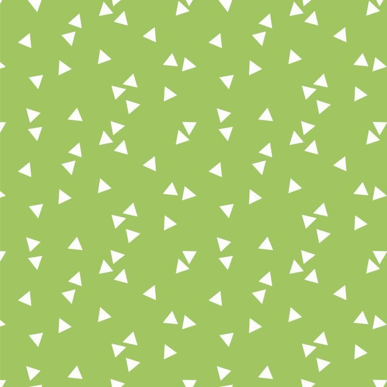 Poplin bumbac – small triangles on lime