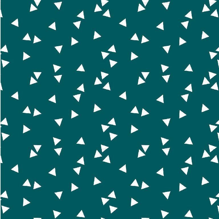 Poplin bumbac – small triangles on petrol