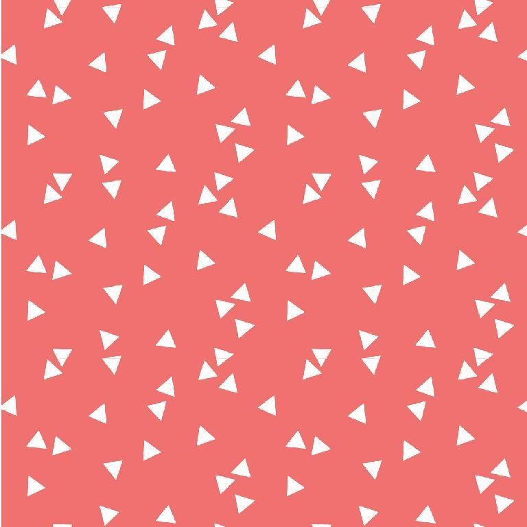 Poplin bumbac – small triangles on coral