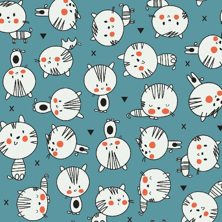 Poplin bumbac – cute cats on blue