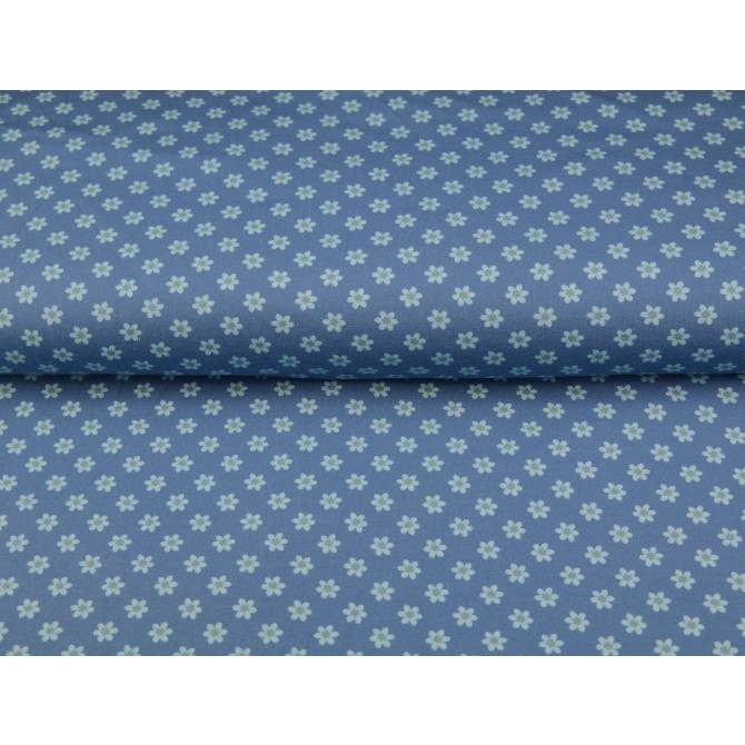 Material textil Jerse bumbac – Pretty small flowers on blue