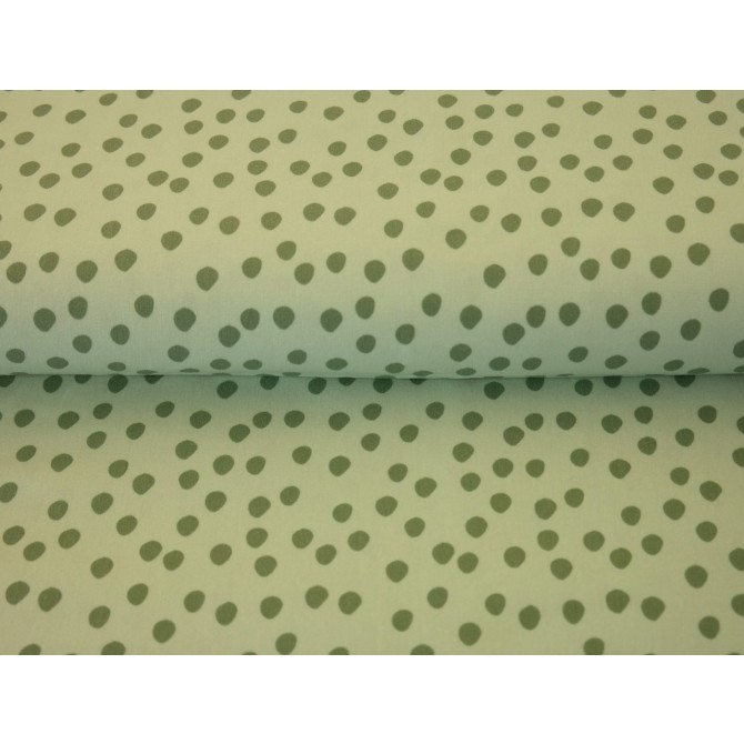 Material textil bumbac – Jerse Scattered green dots