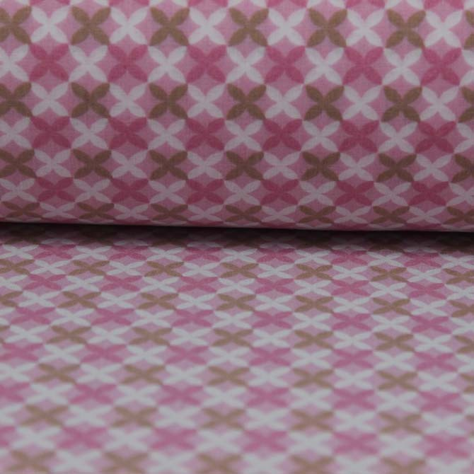 Material textil bumbac -Percale Colored shapes on pink