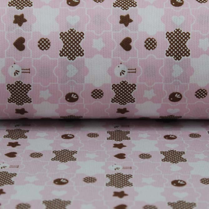 Material textil bumbac - Percale Puzzle on pink