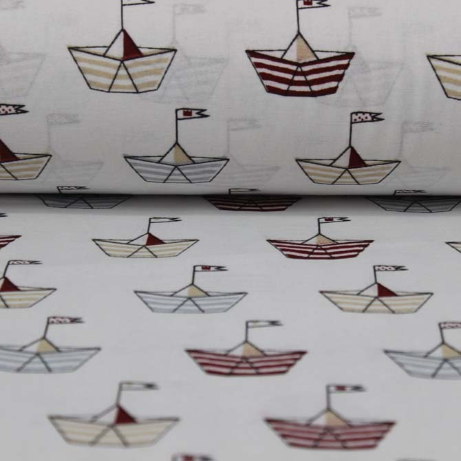 Material textil Bumbac percale – Colored boats on cream