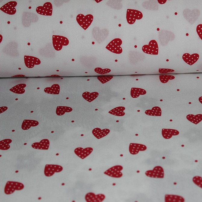 Poplin bumbac – Small red hearts on white