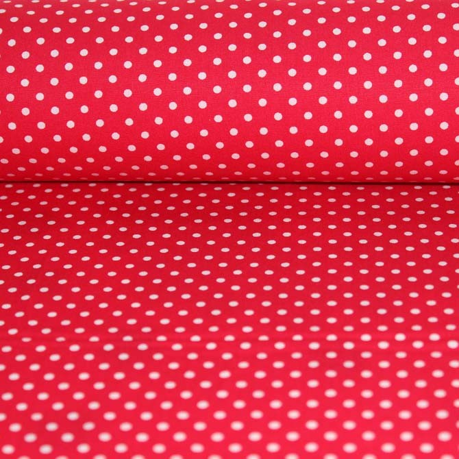 Poplin bumbac – Dots on red