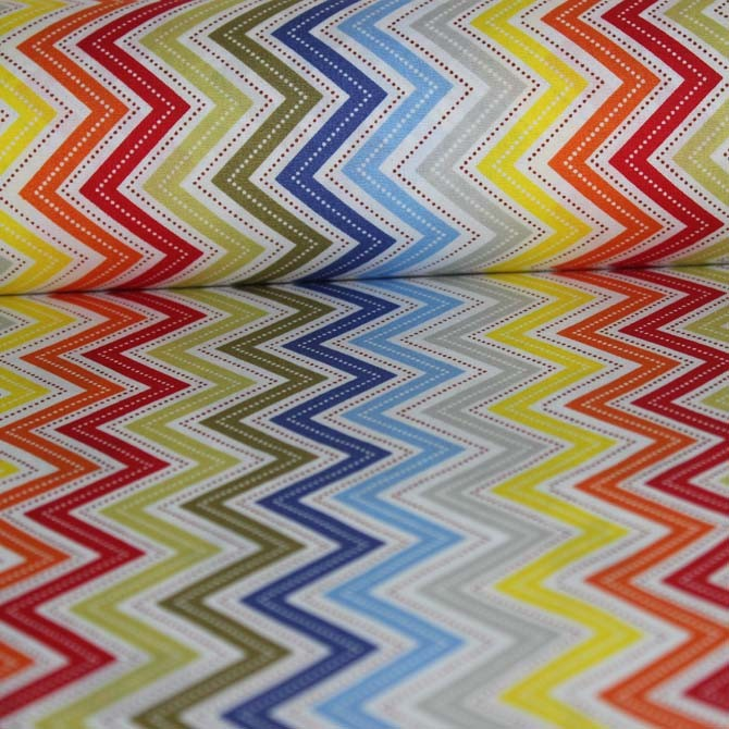 Poplin bumbac – Colored zig zag stripes