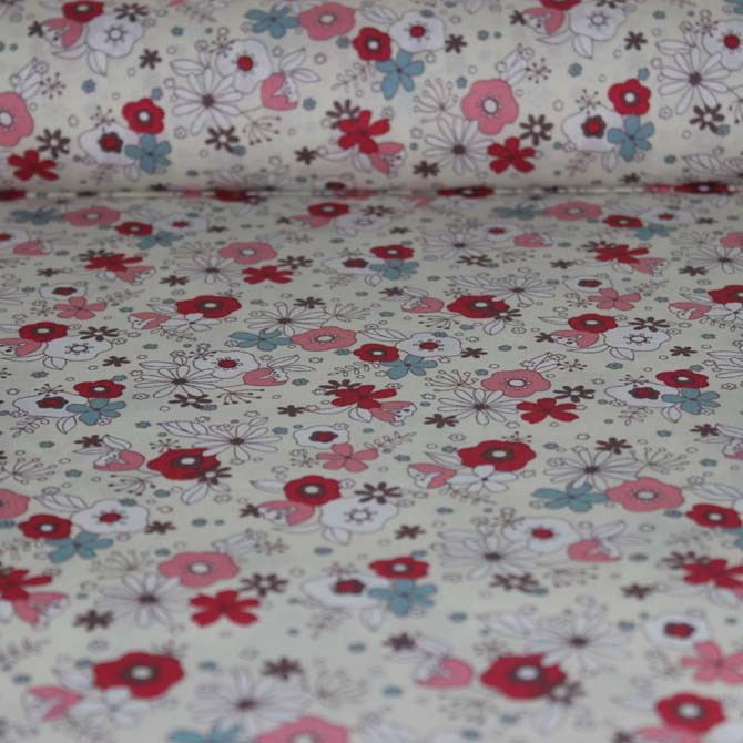 Poplin bumbac – Pretty flowers on cream