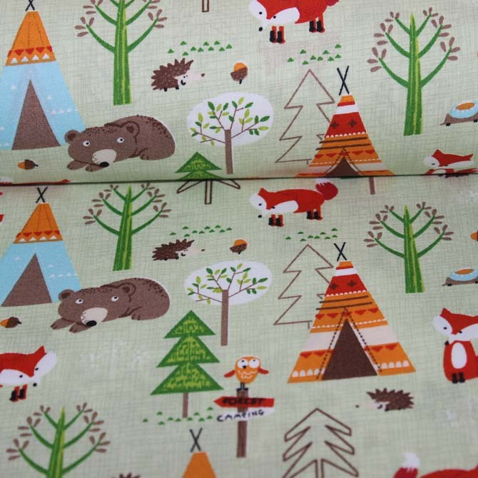 Material textil Poplin bumbac – Animals in forest
