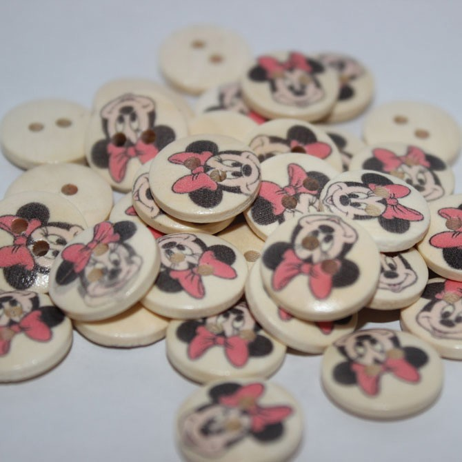 Nasturi din lemn Minnie Mouse - 14 mm