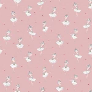Poplin bumbac – pretty ballerina on rose