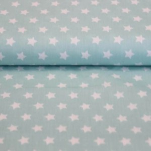 Poplin bumbac – White stars on light mint