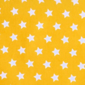 Material textil Poplin bumbac – White stars on yellow