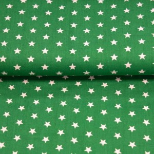 Poplin bumbac – White stars on green