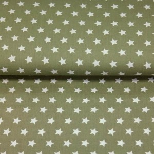 Poplin bumbac – White stars on kaki