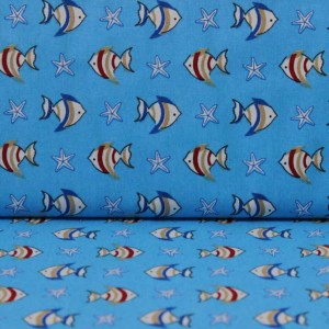 Bumbac percale – Colored fishes on blue