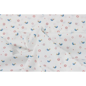Poplin bumbac – Blue little birds on white