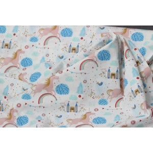 Poplin bumbac – Happy unicorns on white