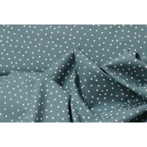 Poplin bumbac – White dots on petrol