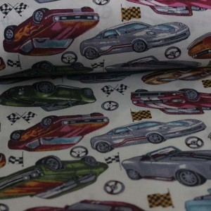Poplin bumbac – Race cars on ivory