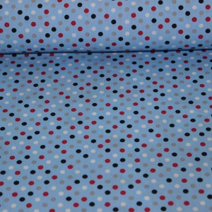 Poplin bumbac – Colored dots on blue