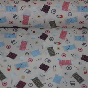 Poplin bumbac – Sewing theme on cream