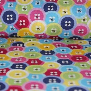 Poplin bumbac – Colored buttons