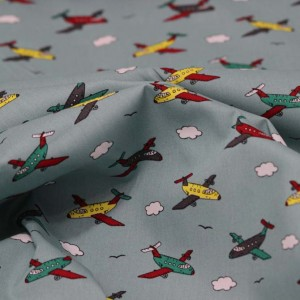 Poplin Bumbac – Airplanes on mint