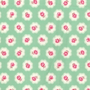 Poplin bumbac - Chic Roses on Green