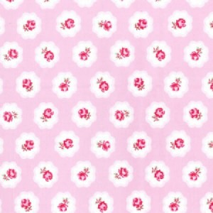 Material Poplin bumbac - Chic Roses on Pink
