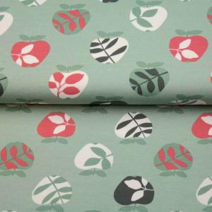 Material textil Jerse bumbac – Pretty leaves on mint