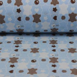 Bumbac percale – Puzzle on blue