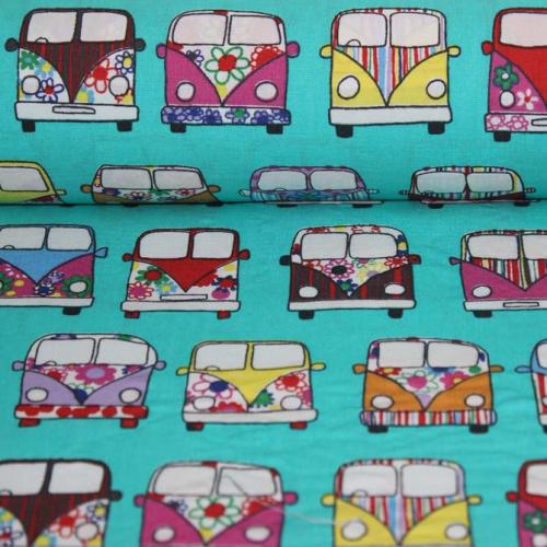 Poplin bumbac – Pretty cars on mint